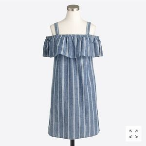 J. Crew Factory Striped Chambray Ruffle-neck Dress